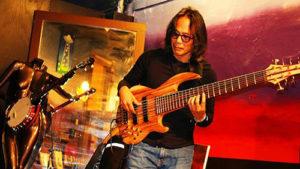 Lodo Bass Bash 2014 in Denver; Conklin Custom Sidewinder 7-string bass with Zebrawood.