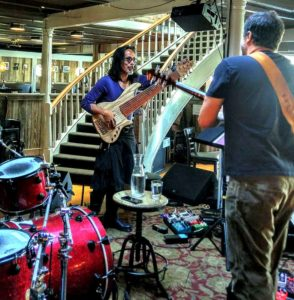 Warming up with LaMacchia Trio at Terrapin Crossroads.