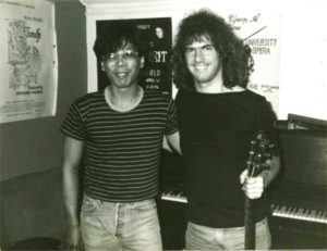 Edo and Pat Methany at the New England Clavier Synth demo; Chicago, IL, 1987.